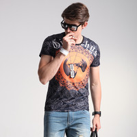 Short Sleeve Plus Size Men's Fashion Print Slim Men's Summer Korean T-shirts = 6450123779