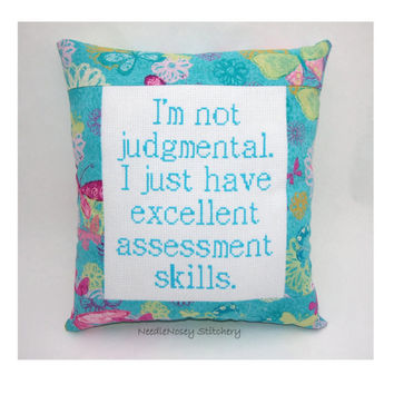 Funny Cross Stitch Pillow, Pink And Turquoise Pillow, Judgmental Quote