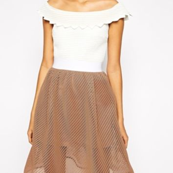 Self Portrait Bardot Flare Dress In Textured Fabric