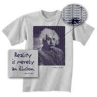 Albert Einstein T-shirt - Reality Is Merely an Illusion Adult Grey Tee Shirt