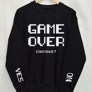 Game Over continue Sweatshirts women Top Tumblr tops Fashion Funny Text Slogan Dope Jumper tee graphic cool casual pullovers