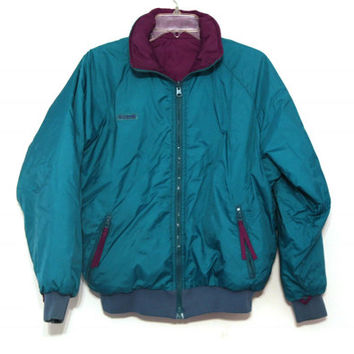 Vintage 80s Columbia jacket teal purple reversible coat