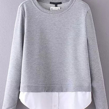Grey Contrast Long Sleeve Sweatshirt