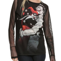 DC Comics The Joker And Harley Quinn Mesh Girls Pullover Top