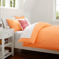 Color Wash Duvet Cover + Sham, Hot Orange