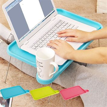 1p Portable Light Plastic Notebook Desk Laptop Table Computer Desk Stand for Bed Office Furniture Foldable Small Desk