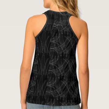 Full Print Edgy Prep Tech Distorted Racer Back Top