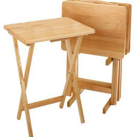 TV Tray Table 5 Set Snack Lap Folding Dinner Serving Legs Stand Wood Desk Home