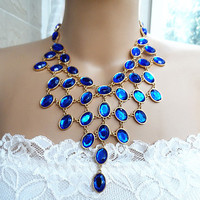 New daisynecklace Transparent Sapphire blue Bubble Statement necklace,bridesmaid gifts, bib necklace,birthday gift,Party, 4 colors available