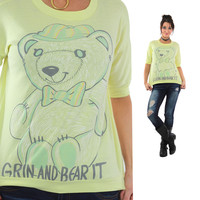 Teddy Bear Shirt Pastel yellow 80s graphic tee bear it Tee Kawaii 1980s slouchy hipster Medium