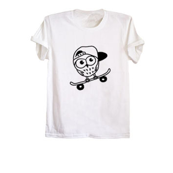 Owl t shirt cute outfits fashion tops tumblr vibes skate shirt adult unisex fit t-shirt graphic tee size XS S M L