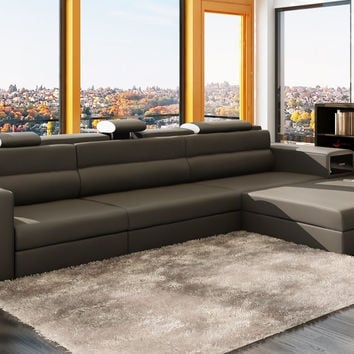 Divani Casa Polaris Mini - Contemporary Bonded Leather Sectional Sofa - VGEV5022B-GRY