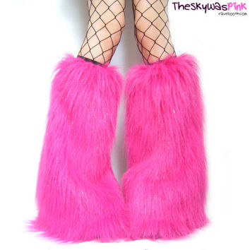 UV Hot Pink Glitter Furry Leg Warmers Fluffy Boot Covers - Rave Outfit Raver Burning Man Fluffies Halloween Costume Accessories