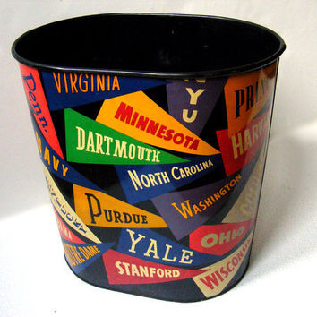 Vintage Trash Can with College Pennants by GSArcheologist on Etsy