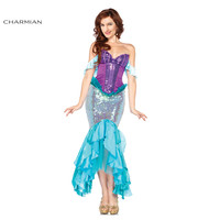 Charmian Deluxe The Little Mermaid Tails Princess Ariel Adult Halloween Cosplay Costume for Women Carnival Halloween Costume