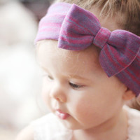 Striped Head Wrap - Purple, Blue, and Pink Stretch Knit Head Wrap with Bow