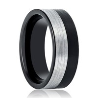 Flat Two-Tone Black & Silver Men's Tungsten Wedding Band Brushed Finish