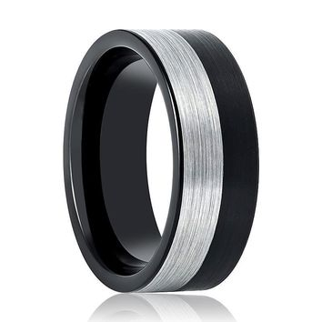 Aydins Tungsten Mens Wedding Band Two Tone Silver & Black Brushed  8mm Tungsten Carbide Ring