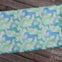 PLEASE READ to ORDER! Horses Blue Background One Size Pocket Diaper or Diaper Cover