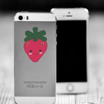 "Strawberry Kawaii Die Cut Sticker // Cute Japanese // Cell Phone & Tablet Small Size // 2"" // Perfect For Indoor, Outdoor, Laptop, Car"