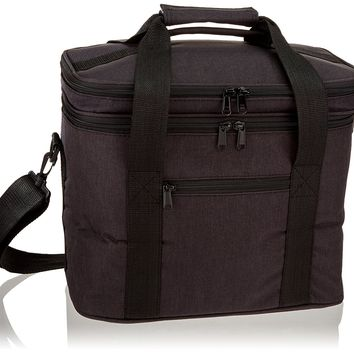 PuTwo 12 Litre Lunch Bag Insulated Tote Large Capacity Cooler Bag with Shoulder Strap - Black