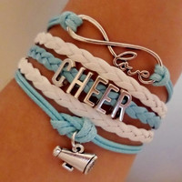 Infinity love Bracelet, Cheer Coach Bracelet, cheerleader bracelet Antique silver Charm, Blue light white wax cords and Braided leather