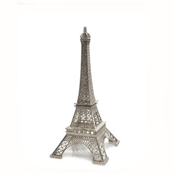 Metal Eiffel Tower Paris France Souvenir, 10-inch, Silver