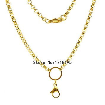 Free shipping 24 inches 4.0mm width Stainless steel gold rolo chain floating locket chains necklace chain LFH_048