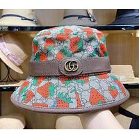 """Gucci"" Casual Vintage Double G Letter Mental Logo Strawberry Fisherman Cap Couple Fashion Sun Hat"