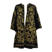 19th Century Ottoman Empire gold metallic embroidered velvet coat