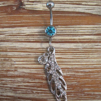 Belly Button Ring - Body Jewelry - Silver Rhinestone Feather with Light Blue Gem Belly Button Ring