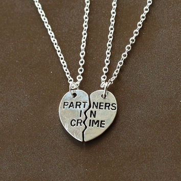 silver PARTNERS IN CRIME necklace, best friends Necklace, broken heart set,  friendship necklace, Christmas gift, best bitches jewelry