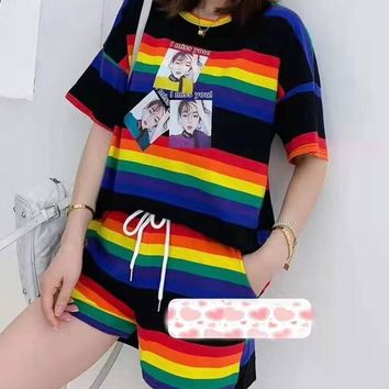 Woman's Leisure  Fashion  Letter Personality Printing Spell Color Multicolor Stripe Short Sleeve Tops   Shorts Two-Piece Set Casual Wear