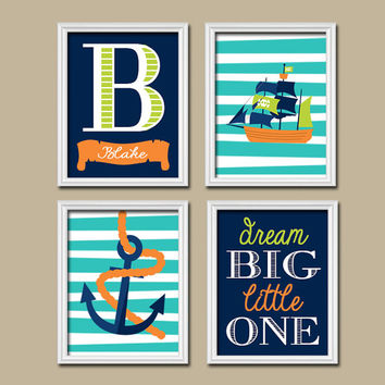 PIRATE Wall Art Boy Nautical Canvas Navy Green Orange Pirate Theme Baby Boy Nursery Wall Art Boy Bedroom Wall Art Boy Boy Wall Art Set of 4