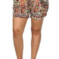 Plus Size Blue and Orange Aztec Print Harem Shorts