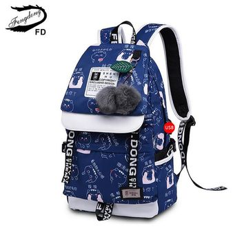 FengDong girls school backpack fashion girl schoolbag female korean style blue canvas cartoon backpack cute plush ball kids bag