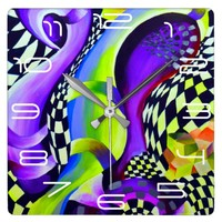 Retro Abstract Electric Blue and Harlequin Green Square Wall Clock