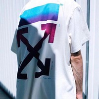 OFF-WHITE Fashion Women Men Casual Print T-Shirt Top Tee White