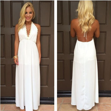 Backless V-neck White Long Chiffon Party Dress