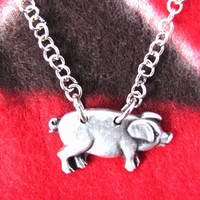 Pig Necklace Piggy Charm Animal Button Jewelry by HendysHome