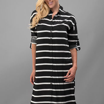 The Mel Pinstripe Dress, Black