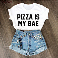 "SexeMara Hot Sell ""PIZZA IS MY BAE"" T shirts XS-4XL Short Sleeve Kawaii Youth T-shirt Harajuku Sexy Summer Kpop Women Tops H645"