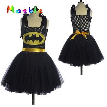 Superhero Kids Christmas Costume Tutu Dress Children Party Dresses Baby Girls Batman Tutu Dress DT-1619
