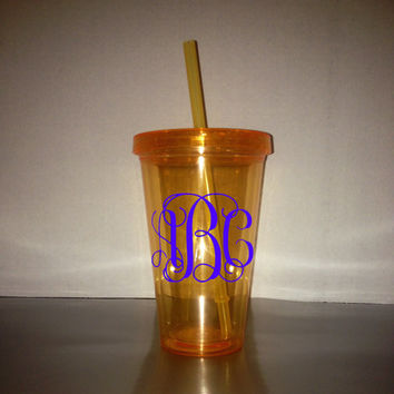 Monogrammed 17.5 oz / 18 oz Tumblers - Color Tumbler - With Matching Lid & Straw -  Orange Tumbler - BPA free - Many monogram color choices!