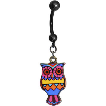 Navajo Dreams Artistic Owl Dangle Belly Ring