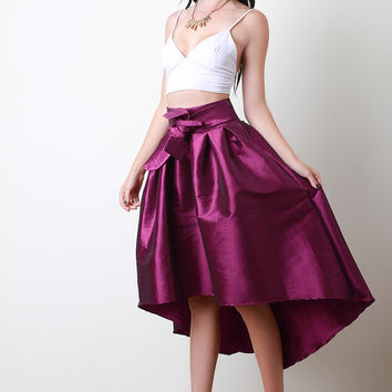 Evening Taffeta Pleated High-Low Skirt