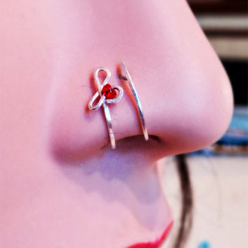 Trinity Nose Cuff, Double Loop Nose CUFF with red bead, NON-PIERCING Nose Ring, double nose ring, faux nose ring,