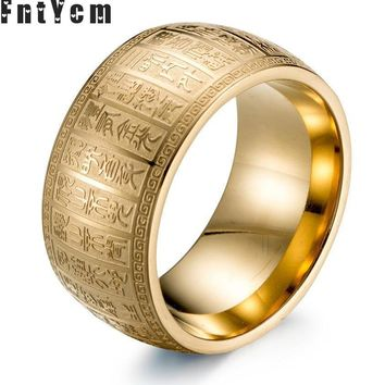 Best Scriptures Supernatural Mantra Amulet Men Rings Mens Signet Engraved Gold Ring Titanium Steel Fashion Rings Silver Jewelry
