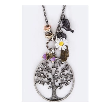 """""""Spreading the Love"""" Tree of Life Multi Charm Sweater Necklace Set"""