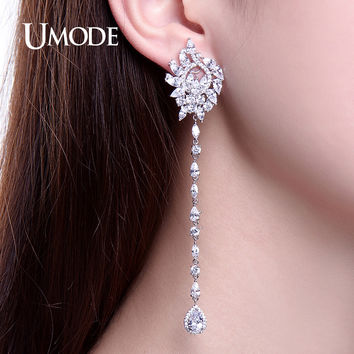 UMODE Mismatch Earrings Luxury Ear Cuff Earrings For Women Zirconia White Gold Color Christmas Jewelry Boucle D'oreille UE0219